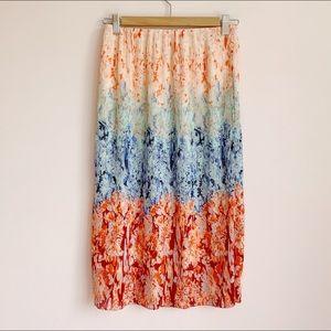 colourful micro-pleat midi skirt